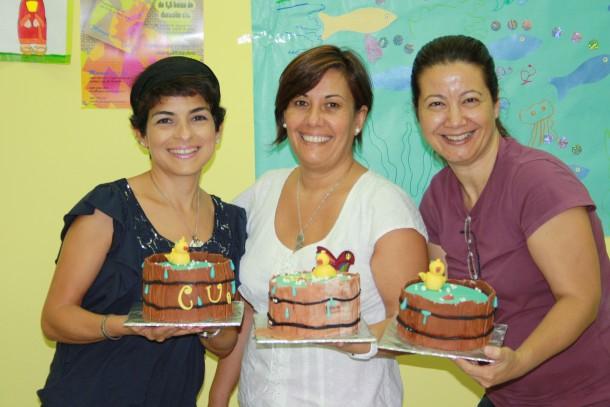 Las tartas decoradas ya terminadas. Felicidades a las alumnas
