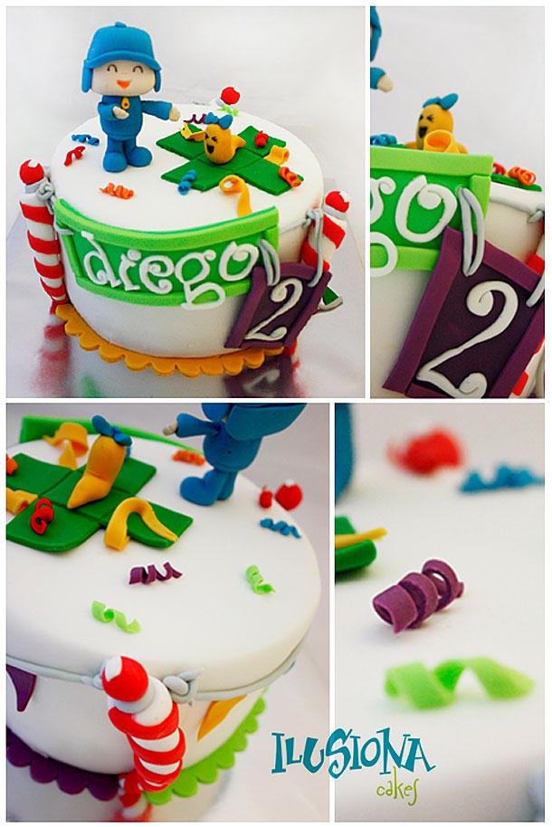 Vista general y detalles de la tarta Pocoyo