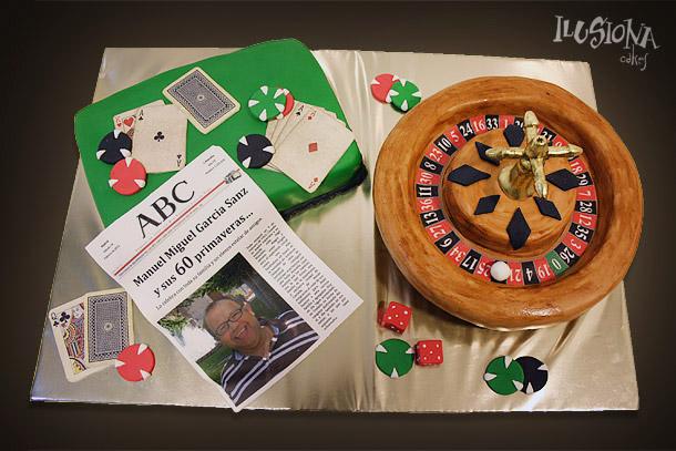 Tarta ruleta, poker, dados y prensa